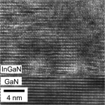 The atomic arrangement at a relaxed InGaN/GaN interface. Research at ASU and Georgia Tech show layer-by-layer crystal growth may lead to record-breaking efficiencies in photovoltaic solar cell technology.