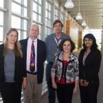 From left to right, QESST Director Christiana Honsberg, QESST Executive Director Matt Fraser, SPL Process Lab Manager Bill Dauksher, NSF Director Dr. France Córdova and QESST Scholar Apoorva Srinivasa