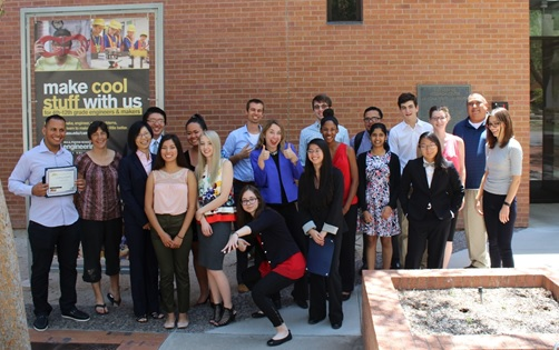 REU students and Young Scholars celebrate a successful summer program held at the Solar Power Lab